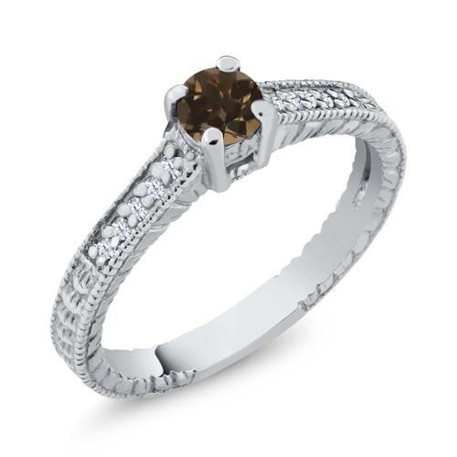 0.36 Ct Round Brown Smoky Quartz White Topaz 925 Sterling Silver Engagement Ring