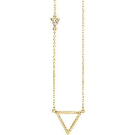 Diamond Triangle Necklace - 14k Yellow Gold Polished .05 Dwt Diamond Triangle Necklace