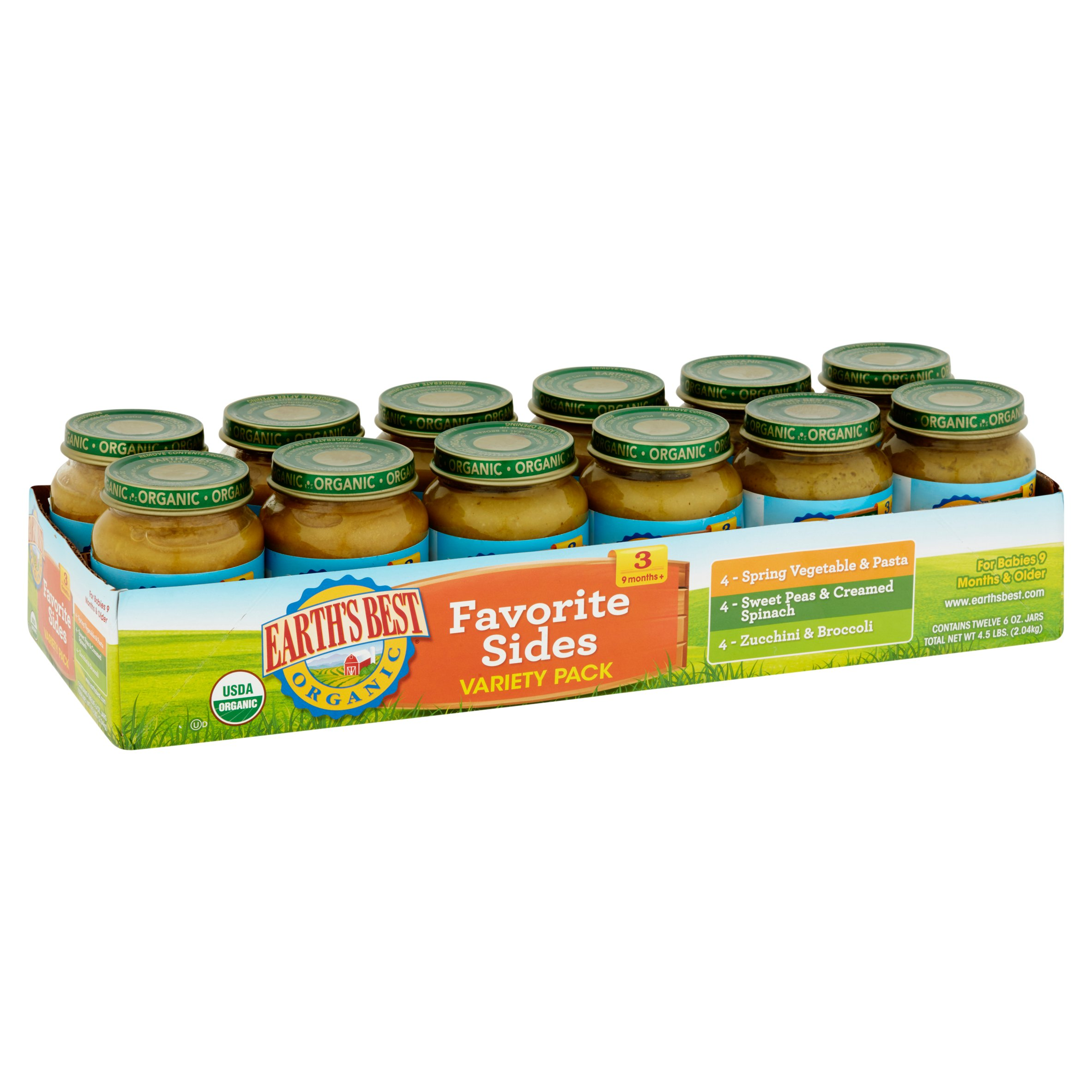Earth's Best Organic Baby Food Favorite Sides Variety Pack, 6 oz, 12 Pack