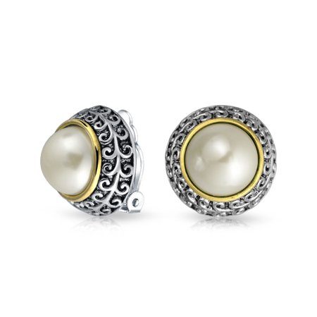 Bali Style Two Tone White Simulated Pearl Dome Clip On Earrings For Women Non Pierced Ear Silver Gold Plated Alloy
