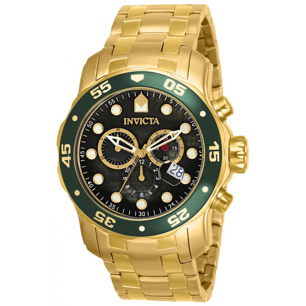 Invicta 80074 Men's Pro Diver Black Dial Gold Plated Steel Bracelet Chronograph Dive Watch