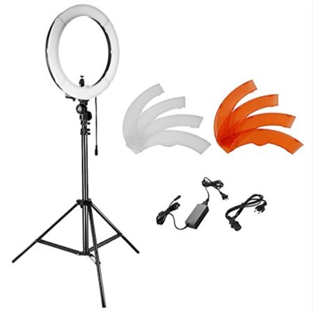 Neewer Camera Photo Studio YouTube Video Lightning Kit: 18 inches/48 centimeters 55W Dimmile LED SMD Ring Light with Color Filter,75 inches/190 centimeters Light Stand, Ball Head Hot Shoe
