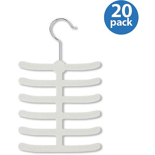 Honey-Can-Do 12-Hook Tie Hanger, White, 20-Pack