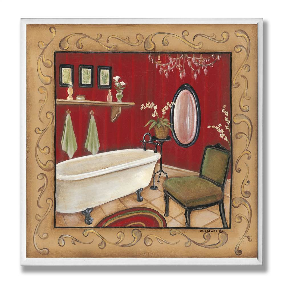 Red Bathtub with Scroll Border Wall Plaque