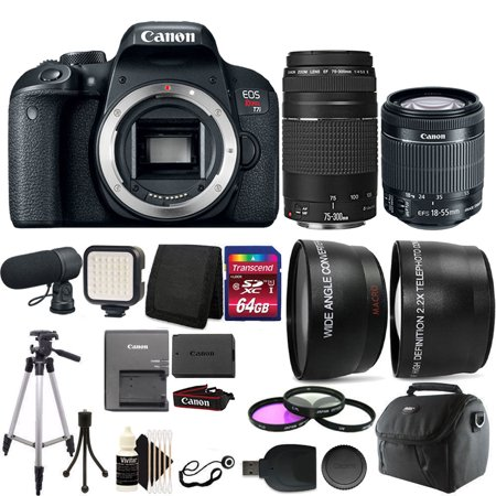 Canon EOS Rebel T7i 24.2MP Digital SLR Wifi Enabled Camera Black with EF-S 18-55 IS STM and EF 75-300mm Lenses + 64GB Accessory Kit