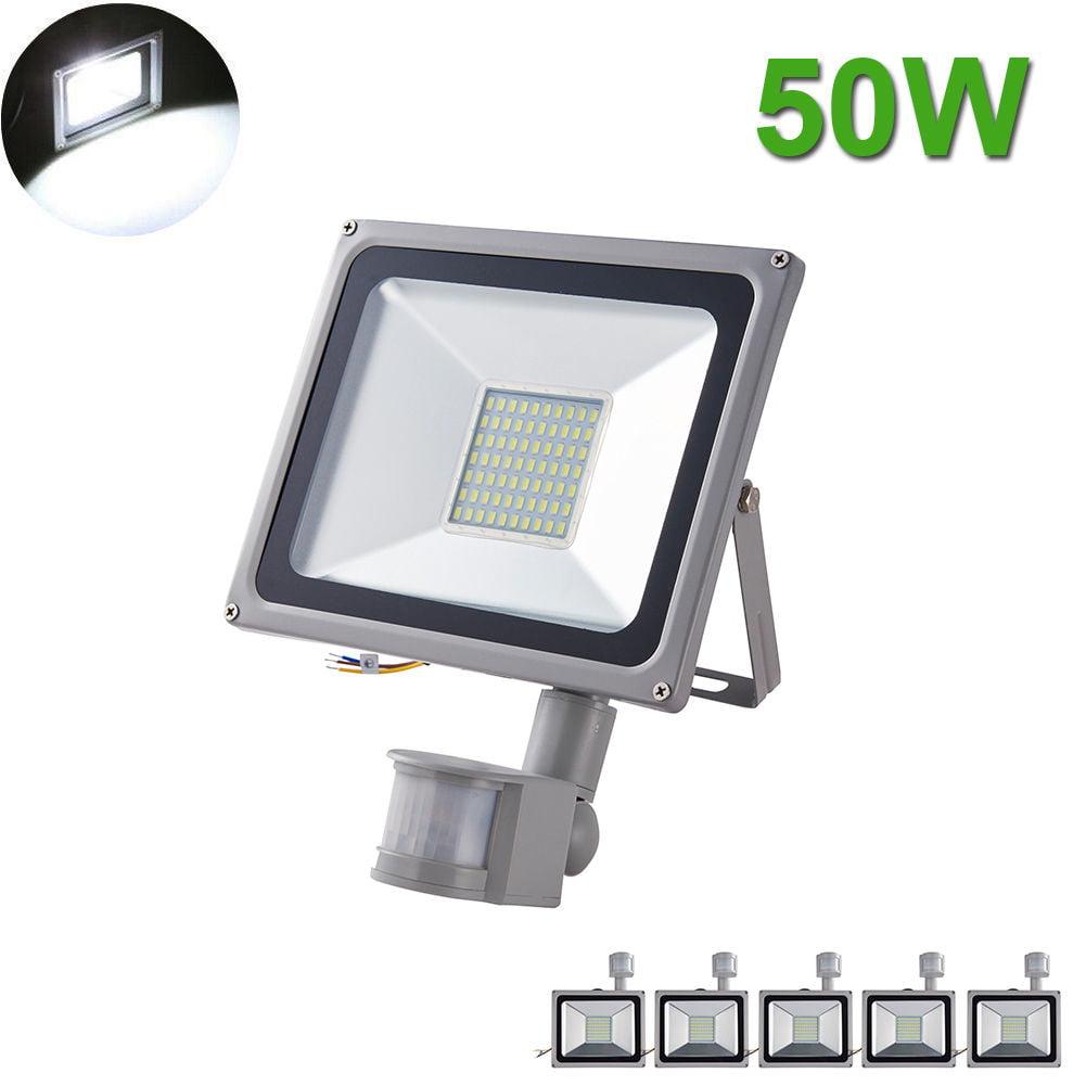 5X 50W LED Flood Light SMD Outdoor Lamp PIR Motion Sensor Cool White Fixtures
