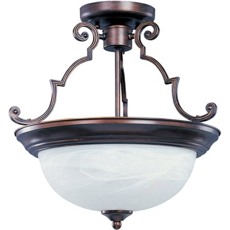 Semi Flush 3 Light Bulb Fixture With Oil Rubbed Bronze Finish Iron Material Medium Bulbs 17 inch 300 Watts 3 Light Old Iron