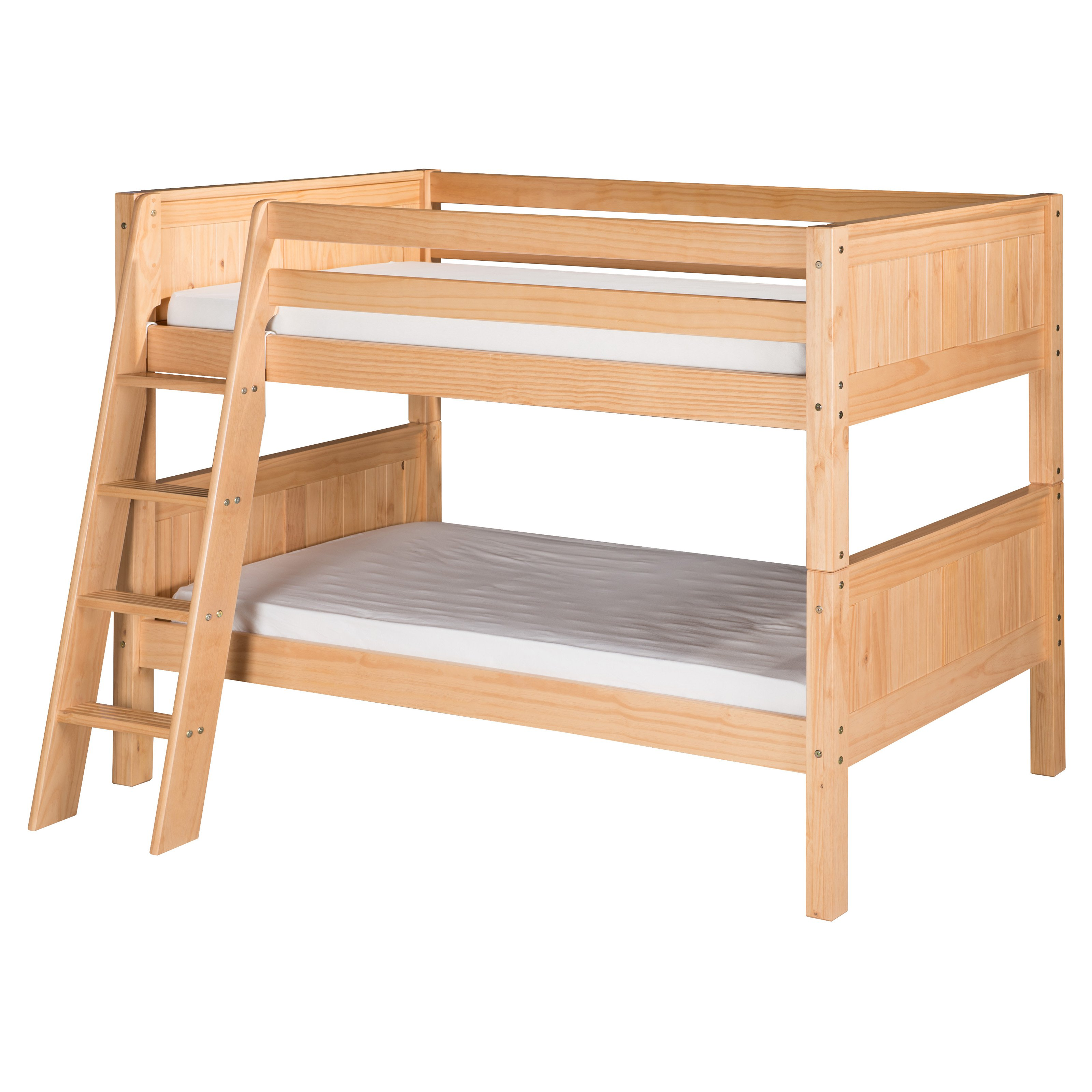 Camaflexi Panel Headboard Twin over Twin Low Bunk Bed with Angle Ladder