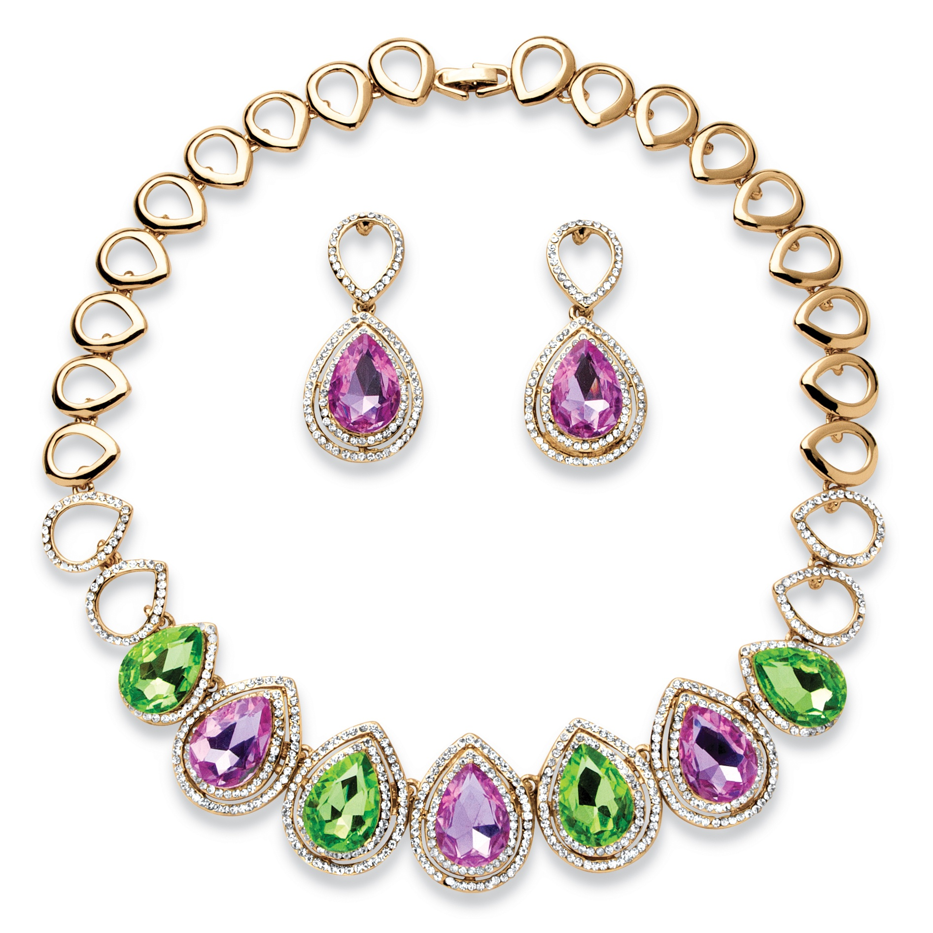 Pear-Cut Lavender and Green Crystal Double Halo Necklace and Earrings Set in Gold Tone