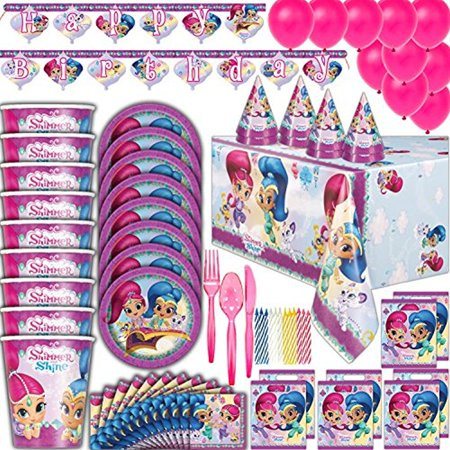 Shimmer and Shine Birthday party Supplies - 8 Guest - Plates, Cups, Napkins, Tablecloth, Cutlery, Balloons, Banner, Loot Bags, Birthday Hats, Candles - Full Genie Theme Decorations and Party Set