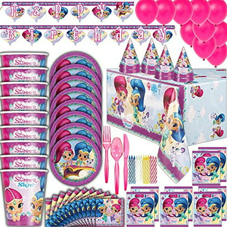Shimmer and Shine Birthday party Supplies - 8 Guest - Plates, Cups, Napkins, Tablecloth, Cutlery, Balloons, Banner, Loot Bags, Birthday Hats, Candles - Full Genie Theme Decorations and Party - 18th Birthday Theme