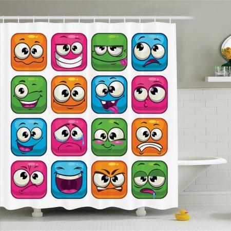 Curtains Ideas comic shower curtain : Ambesonne Emoji Cartoon Monsters Comic Shower Curtain Set ...