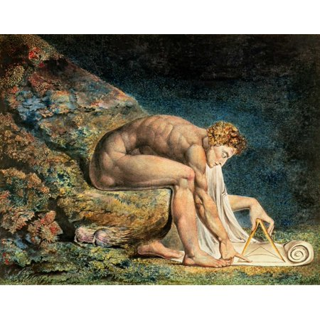Newton Stretched Canvas - William Blake (22 x 28) Newton Stretched Canvas