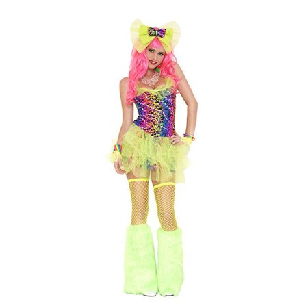 Music Legs 70680-XL 3 Piece Neon Leopard Print Dress with Attached Tutu Skirt with Oversized Bow, Gloves, Extra - Oversized Gloves