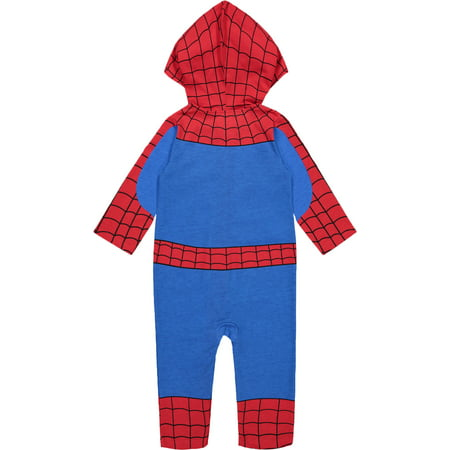 Marvel Avengers Spiderman Infant Baby Boys' Zip-Up Hooded Costume Coverall (0-3