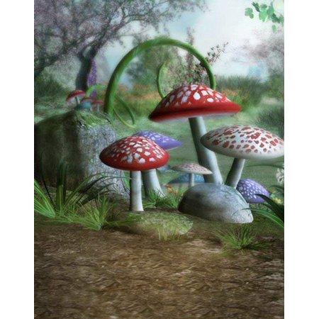 Mushroom Lane - ABPHOTO Polyester Fairy Tale Mushroom Land Field Forest Kids Studio Photography Backdrops 5x7ft