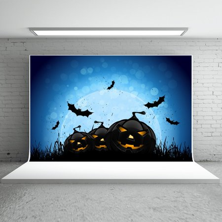 HelloDecor Polyster 7x5ft Halloween Backdrops Photography Black Pumpkins Bats Blue Background for Children Photo Booth Props (Kids Halloween Photo Booth)