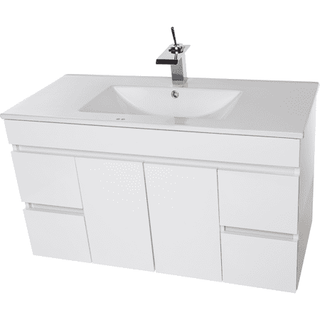 Strato Wall Mounted Bathroom Vanity Cabinet Set Bath Furniture With Single Sink White 40 In