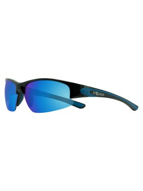 Product Image Shiny Black Frame Sporty Sunglasses with Navy FLX-T Rubber  Temples and Blue Lens 3cef2346b