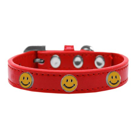 Happy Face Widget Dog Collar Red Size 16](Dog Face Paint)