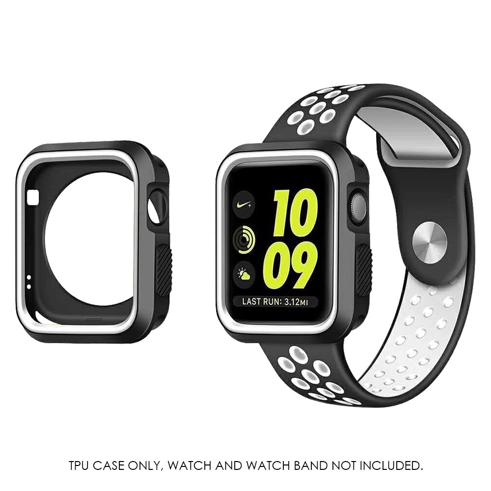 MUNDAZE Black White Premium Duo Color Flexible TPU Case For Apple iWatch 2 / 3 42MM