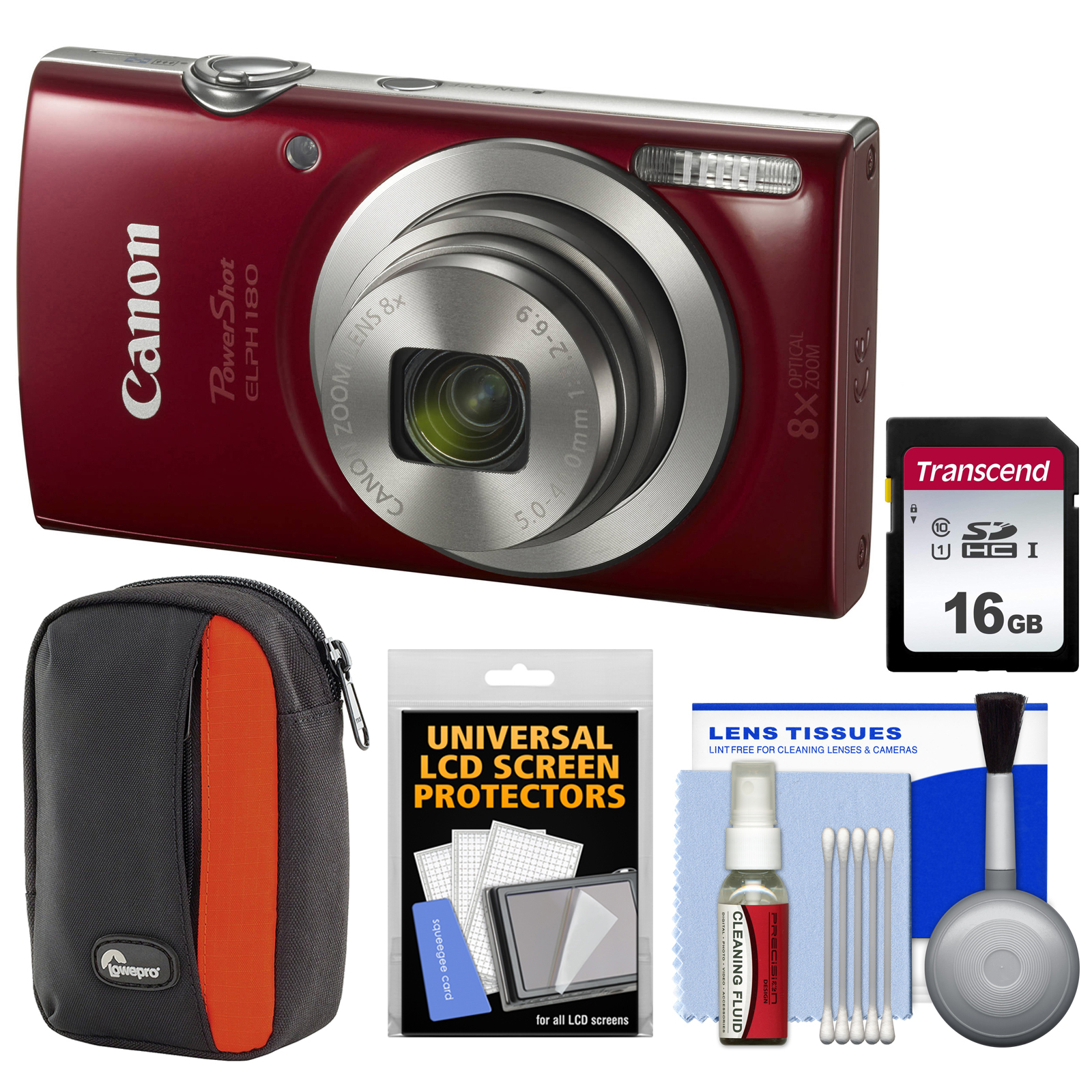 Canon PowerShot Elph 180 Digital Camera (Red) with 16GB Card + Case + Kit