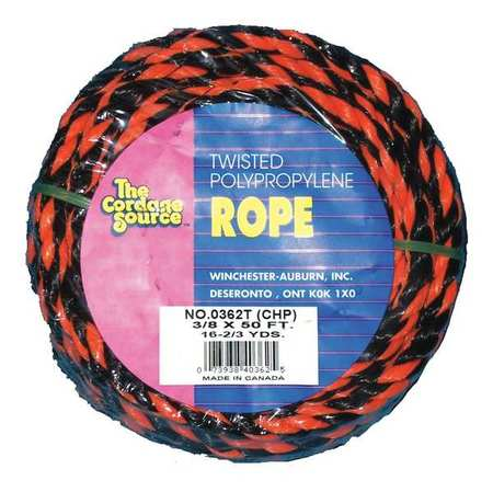 Rope,50ft,Blk/Orng,215lb.,Polyprpylne ZORO SELECT 362T-WA