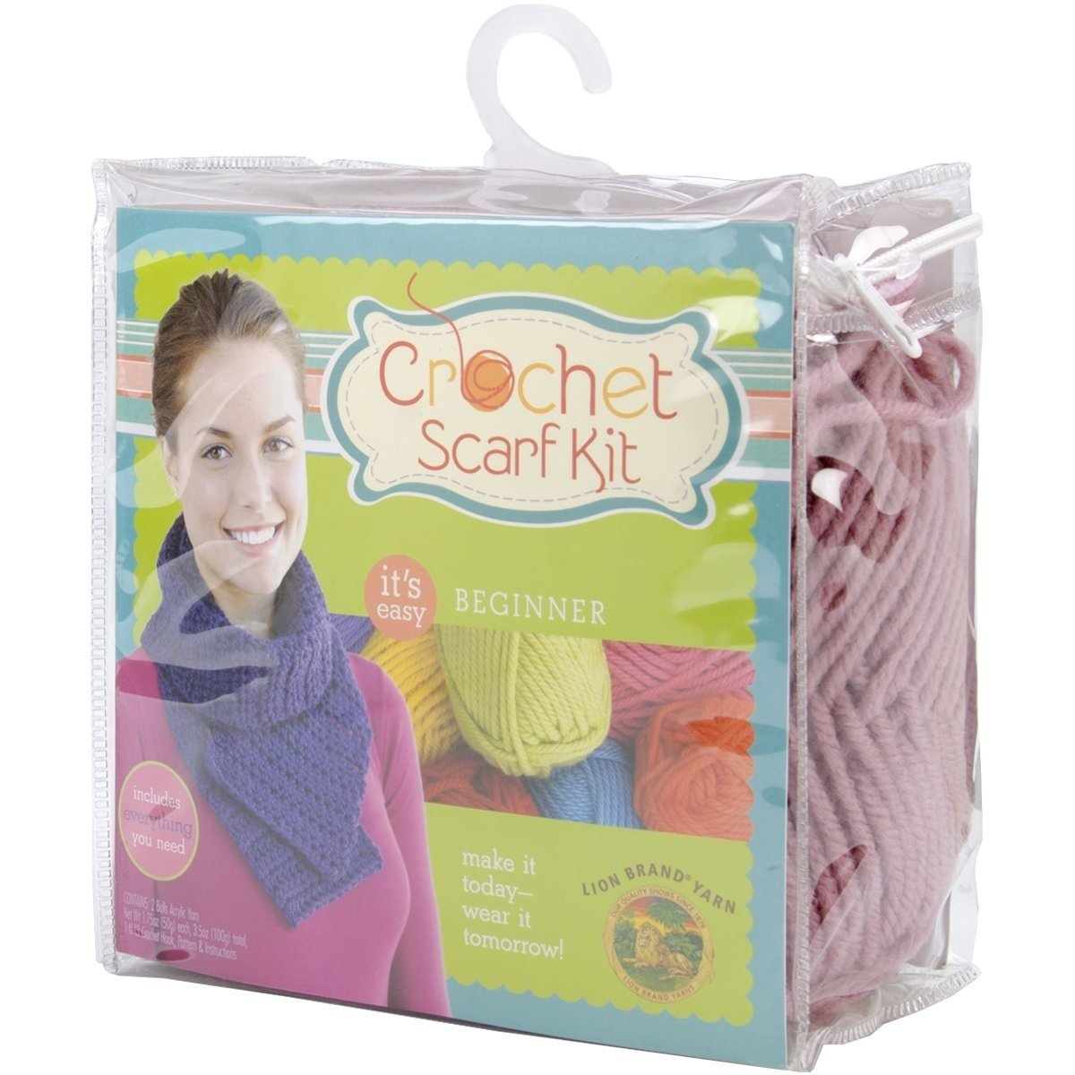 Lion Brand Yarn 600-885 Beginner Crochet Scarf Kit, Dusty Rose