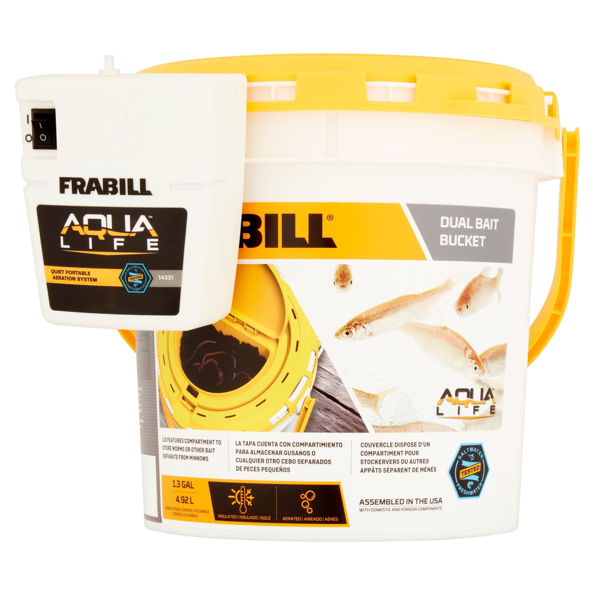 Frabill Aqua Life Dual Fish Bait Bucket with Clip on Aerator