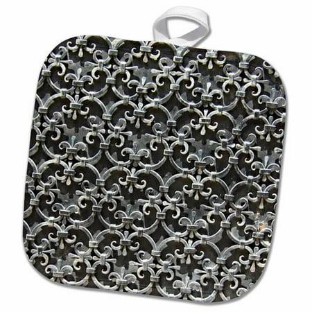 3dRose Gothic Damask Metal Medieval Wrought Iron Metal Work Fleur De Lis Floral Clovers Pot Holder