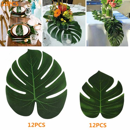 Meigar 24PCS Artificial Palm Leaves Tropical Plant Faux Leaves Hawaiian Luau Party Jungle Beach Theme BBQ Birthday Party Table Leaves Decorations - Beach Themed Parties