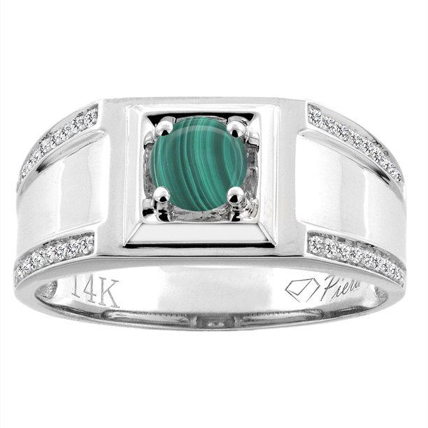 14K White Gold Natural Malachite Men's Ring Diamond Accented 3/8 inch wide, size 12