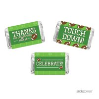 Birthday Hershey's Miniatures Chocolates Party Favor Labels Stickers, Football Touchdown! Party, 36-Pack