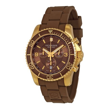 Victorinox Swiss Army Maverick Chronograph Date Brown Rubber Mens Watch 241692 ()