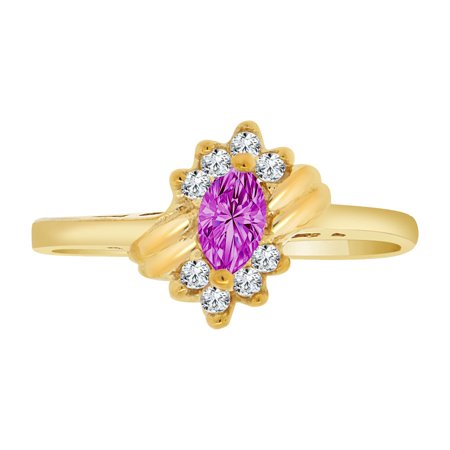 14k Yellow Gold, Dainty Marquise Shape Ring Violet CZ Feb Synthetic Birthstones Size 5.5