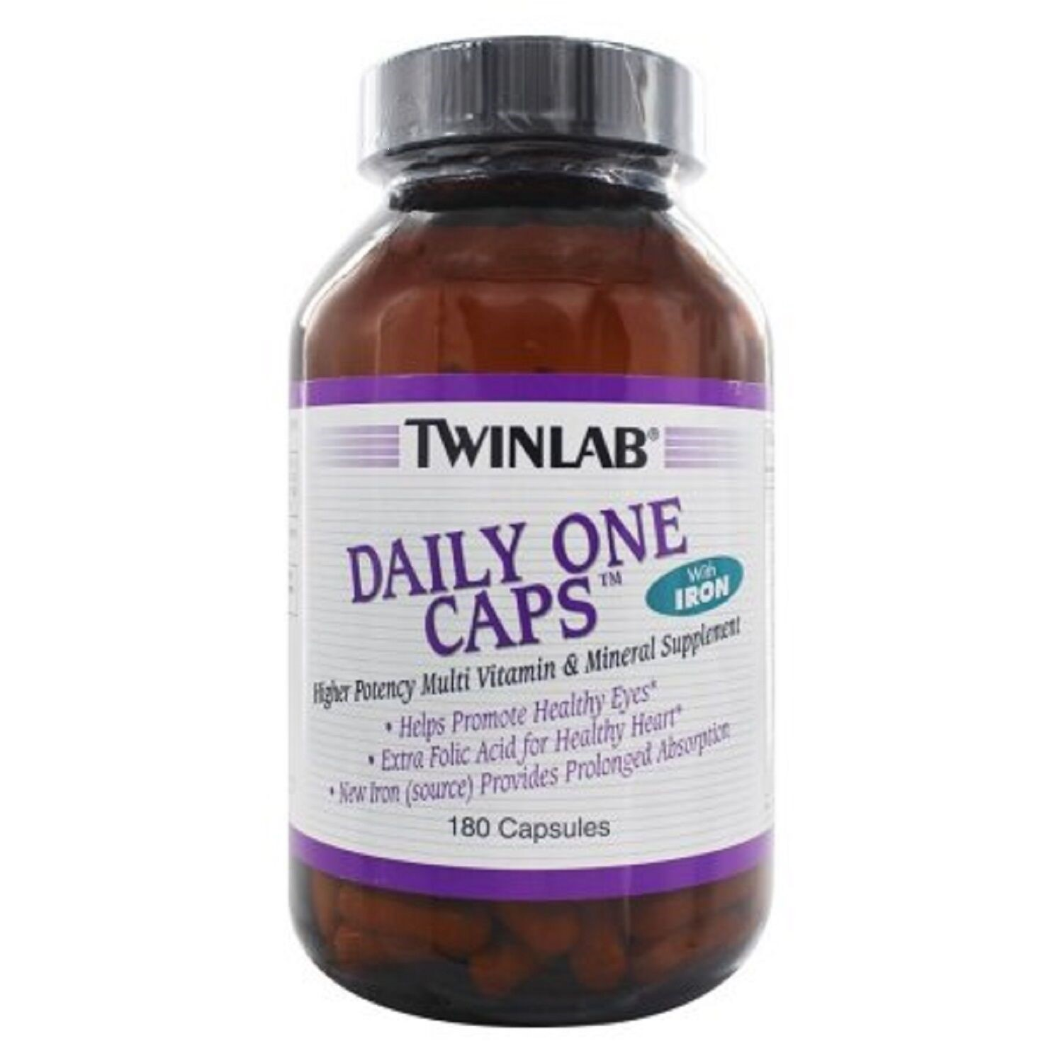 Twinlab Daily One Multivitamin with Iron Capsules, 180 Ct