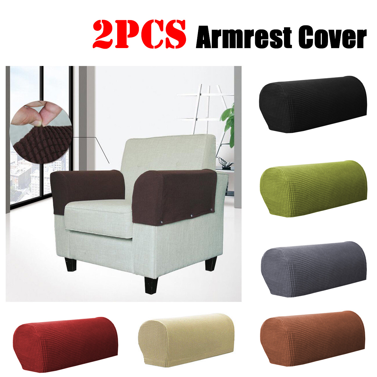 2PCS Premium Stretch Furniture Armrest Covers Slipcovers Sofa Chair Couch Chair Arm Protectors