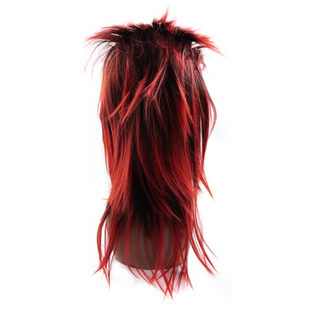 """Black Red 21.3"""" Long Synthetic Rocking Punks Hairstyle Costume Cosplay Wigs w/ Wig Cap - image 5 de 5"""