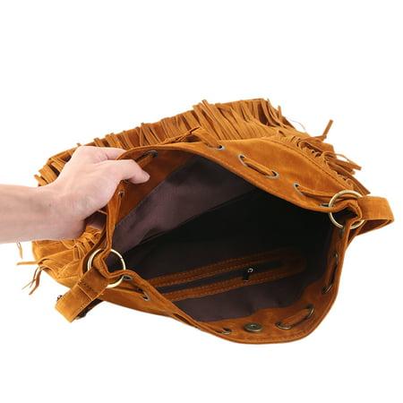 Woven Hobo Handbag - Women Imitation Suede Fringe Tassel Shoulder Bag Handbags Messenger Bag Female Shoulder Bag