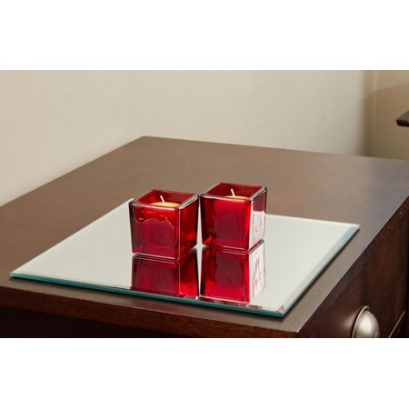 10 Inch Square Mirror Candle Plate with Bevelled Edge set of 12