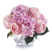Enova Home Pink Silk Hydrangea and Peony Flower Arrangement in Clear White Vase with Faux Water