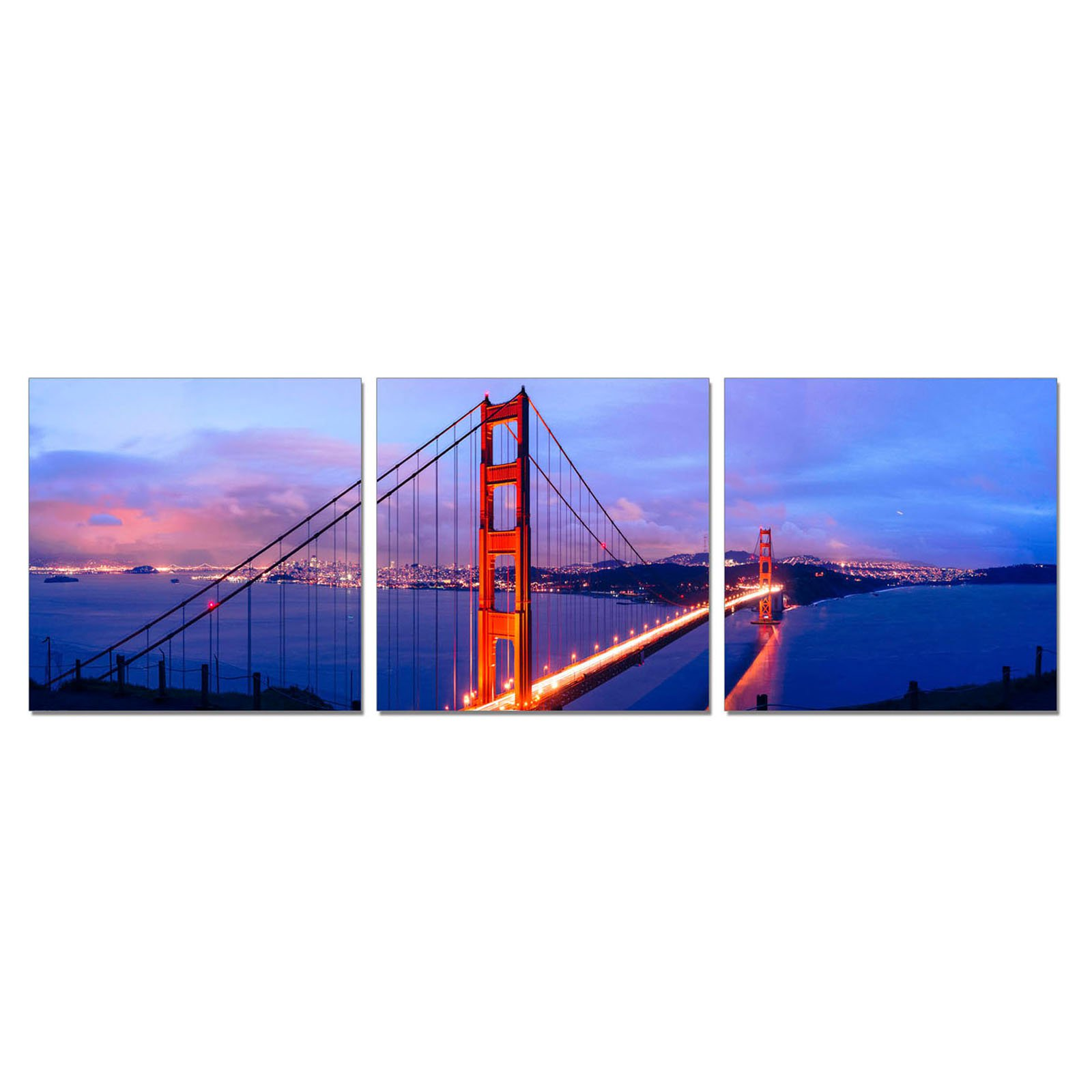 Furinno SeniA Golden Gate 3-Panel MDF Framed Photography Triptych Print, 48 x 16-in
