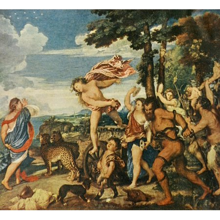 1911 Painting - Bacchus & Ariadne History of Painting 1911 Stretched Canvas - Titian (24 x 36)
