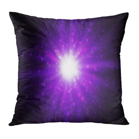 ECCOT Pink Burst Light Bokeh on Dark Purple Spotlight Night Abstract Festive Glow PillowCase Pillow Cover 18x18 - Purple Spotlight