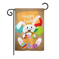 "Ornament Collection - Colourful Happy Easter Egg with Bunny Spring - Seasonal Easter Impressions Decorative Vertical Garden Flag 13"" x 18.5"" Printed In USA"