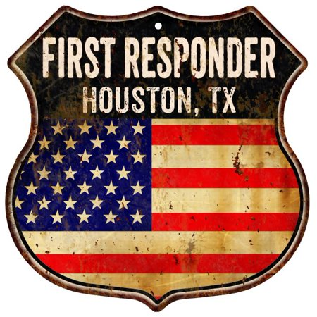 HOUSTON, TX First Responder American Flag 12x12 Metal Shield Sign S122286 - Halloween Houston Tx