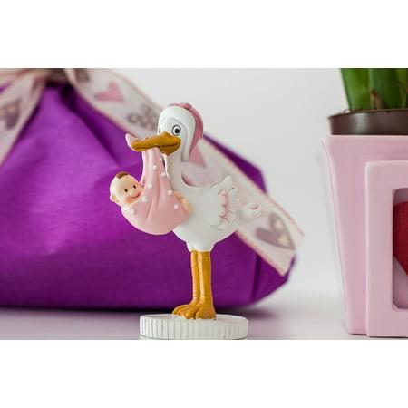 Canvas Print Birth Joy Pink Baby Newbie Stork Stretched Canvas 10 x (Joy Stork)