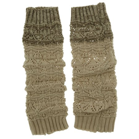 Violet & Virtue Women's Two-Toned Ribbed Cuff Leg Warmer (Beige)