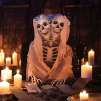 Two-Headed Life-Size Posable Skeleton-Hallowen Décor-1 Piece-60""