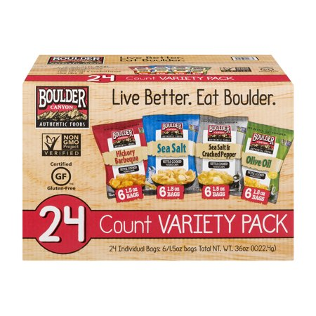 Boulder Canyon Kettle Cooked Potato Chips Variety Pack, 24 Ct (No Cook Halloween Snacks)